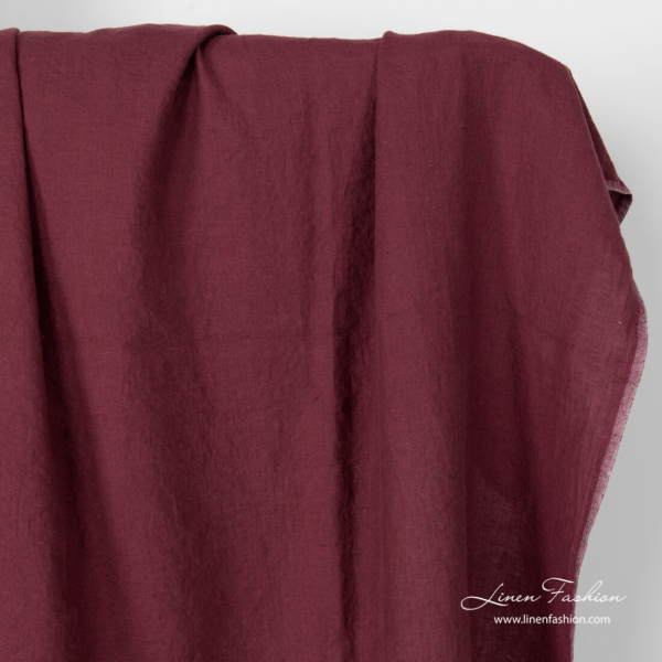Washed burgundy linen fabric