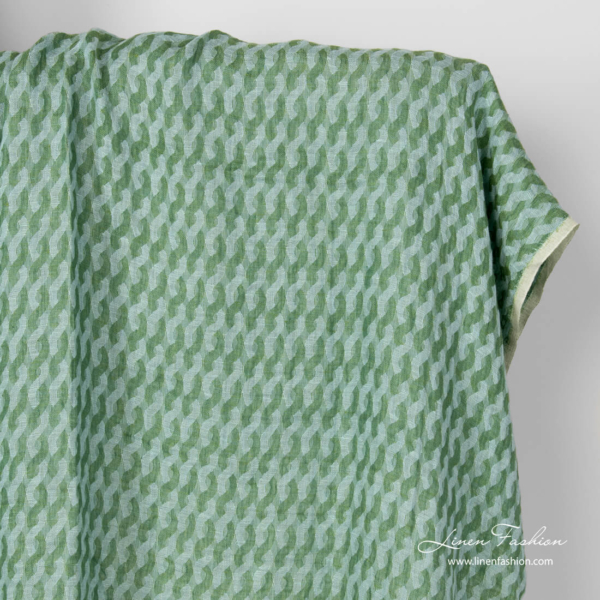 Linen green wave pattern fabric, washed