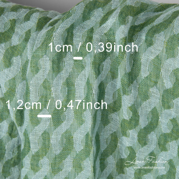 Darker and mint green entwined wave dimensions, washed linen fabric