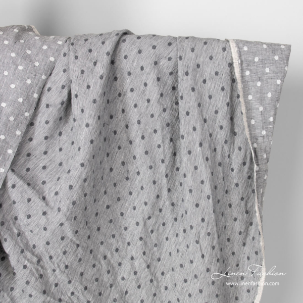Light grey polka dot linen fabric, washed