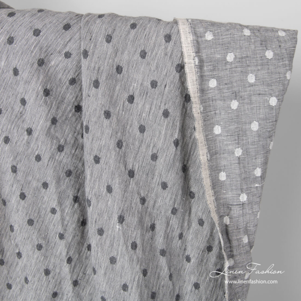 Washed light grey double sided linen fabric with bubbles