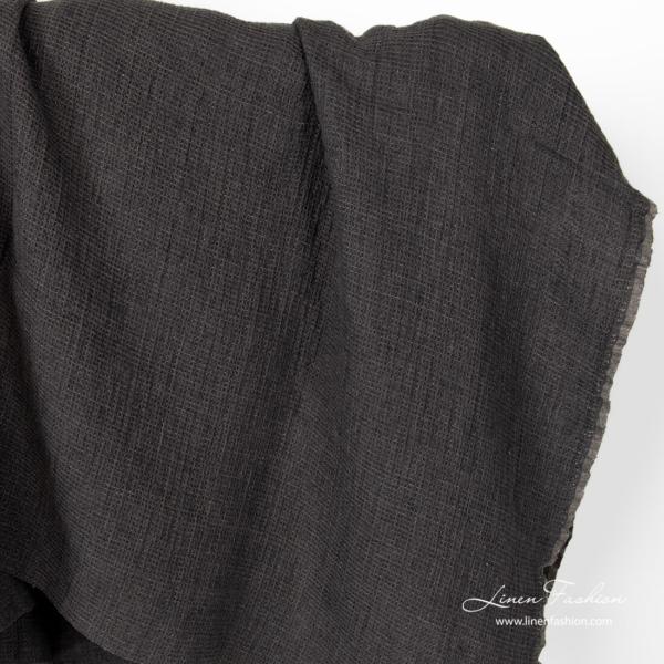 Washed anthracite grey waffle weave linen fabric