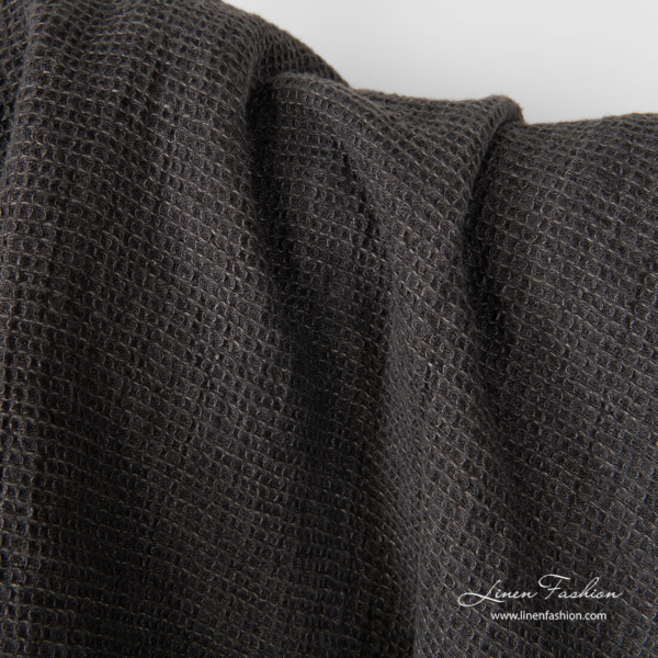 Dark grey linen fabric in waffle weave, washed