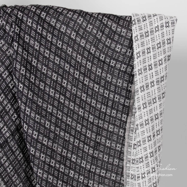 Linen black/white ornament fabric, washed