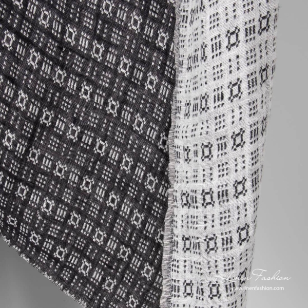 Linen black/white double sided ornament fabric, washed
