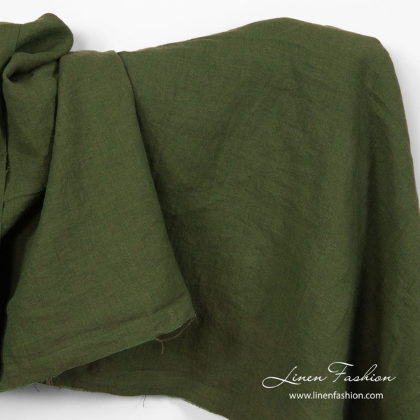 Washed pure linen dark green fabric