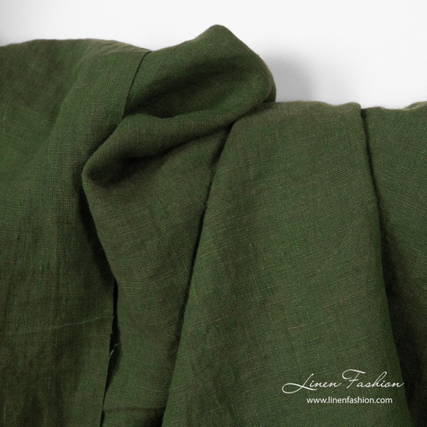 Dark green colour linen fabric, washed