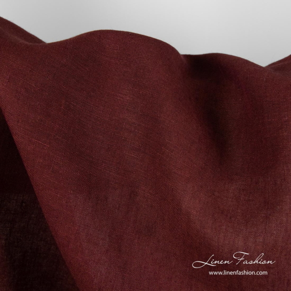 Dark red linen fabric