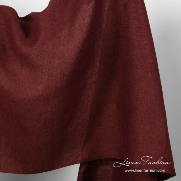 Pure linen fabric in dark red colour