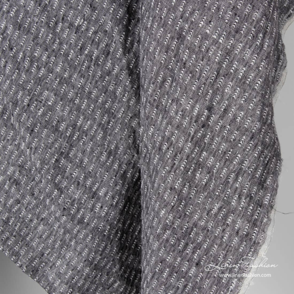 Patterned linen fabric in black white mix, washed