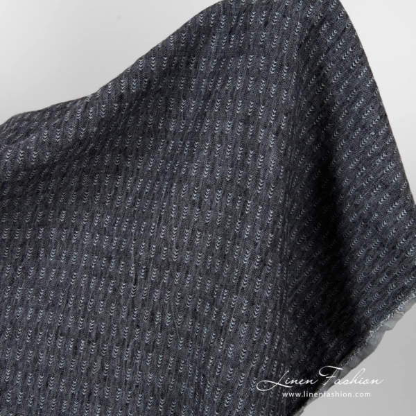 Washed black grey patterned linen fabric