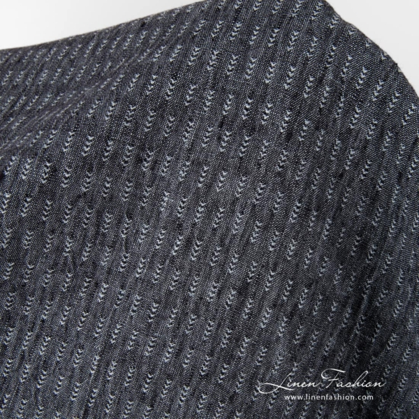 Black background with grey ticks linen fabric, washed