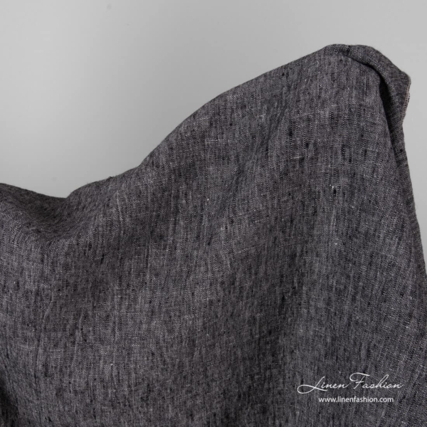 Thick linen black white fabric, washed