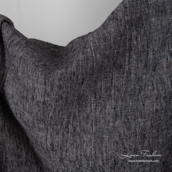 Washed black white linen fabric
