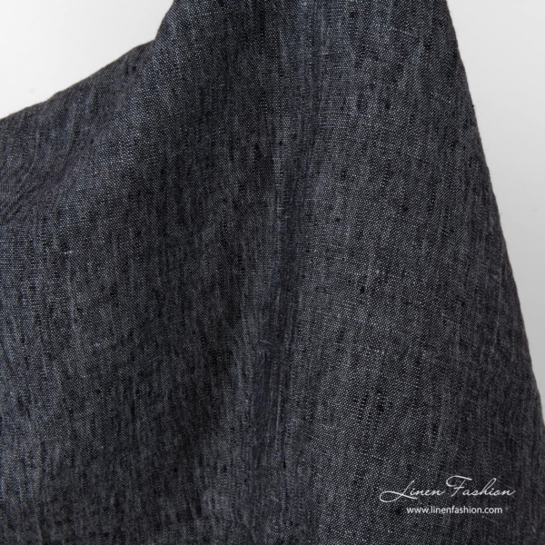 Washed linen black grey fabric