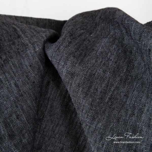 Washed linen fabric in black grey mix