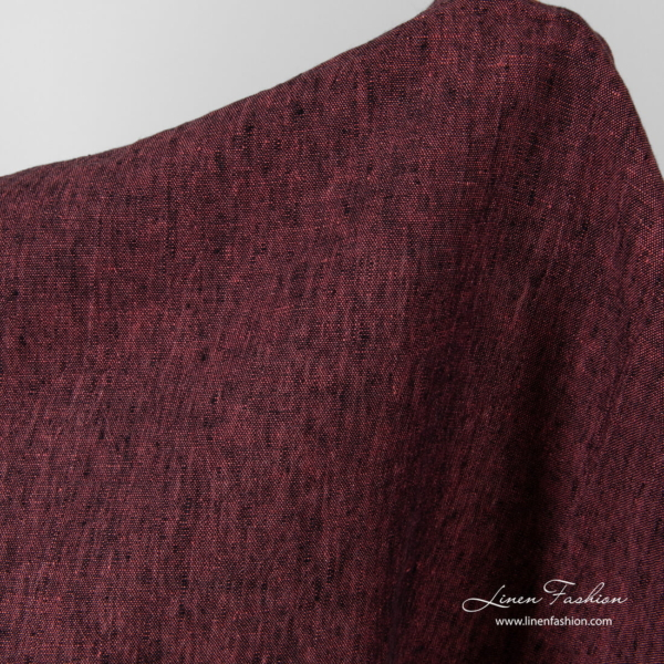 Black and pink washed linen fabric