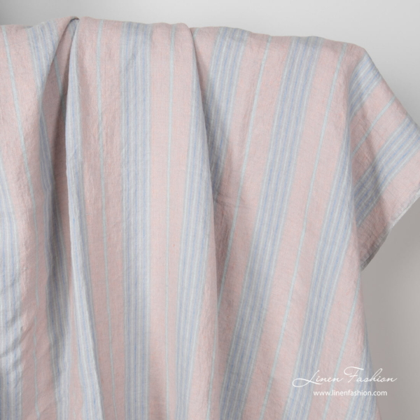 Linen fabric in pastel color vertical stripes, washed