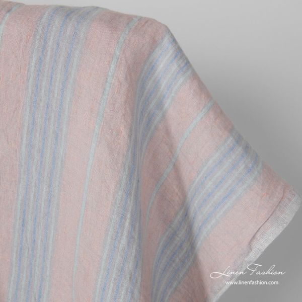 Washed linen fabric in pastel vertical stripes