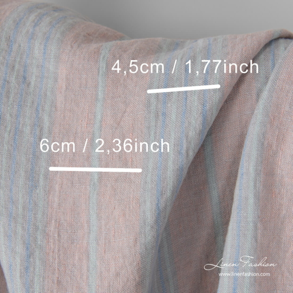 Washed linen fabric in pastel color stripes with measurements