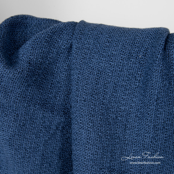 Dark blue linen fabric in panama weave, washed