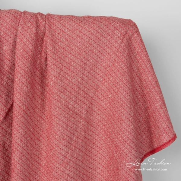 Red linen fabric in tiny diamonds, washed