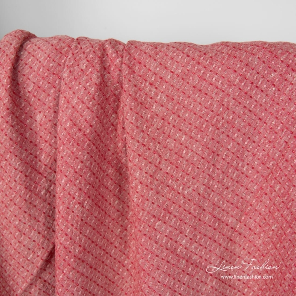 Washed linen fabric red grey melange, small diamond pattern