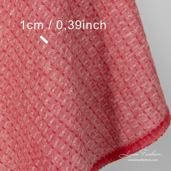 Washed linen fabric, red and grey small diamond pattern, dimensions