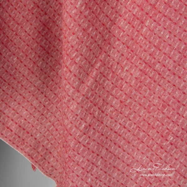 Washed linen fabric, red and grey small diamond pattern