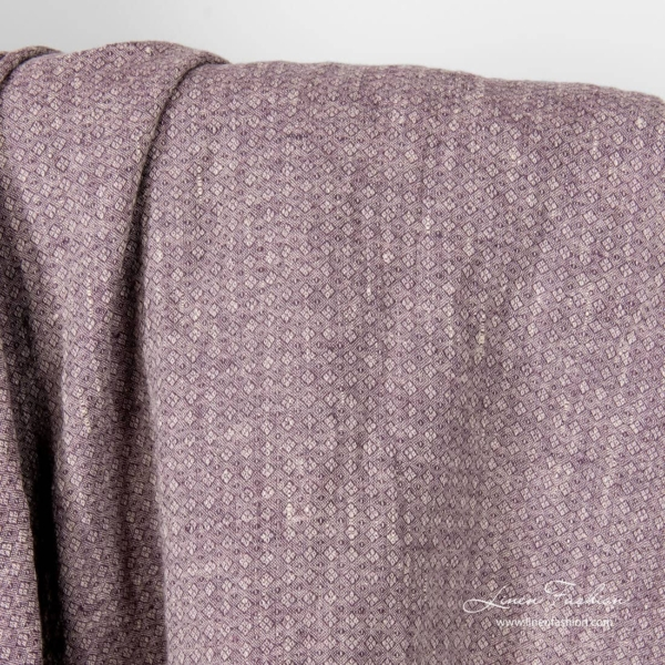 Purple grey patterned linen fabric, washed