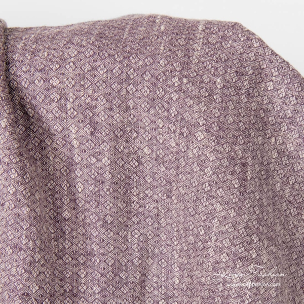 Purple linen fabric in small diamonds, washed