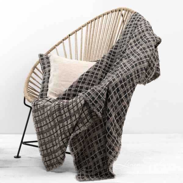 Linen double sided grey grid check blanket