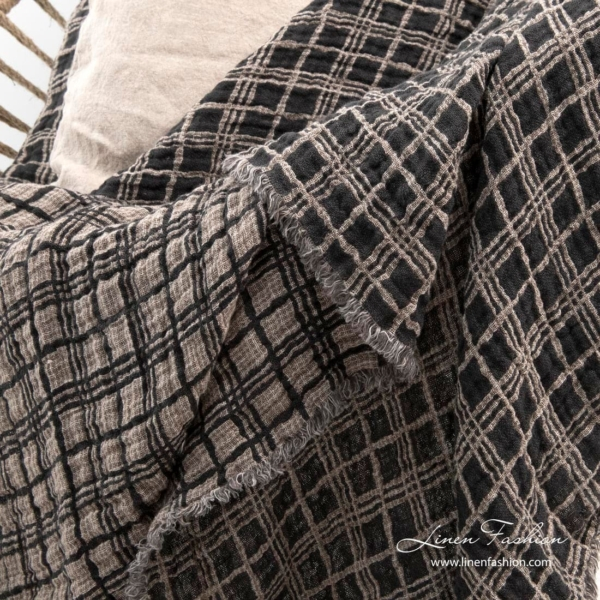 Grey checked linen blanket, reversible sides