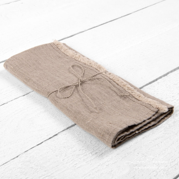 Natural linen kitchen towels with fringes