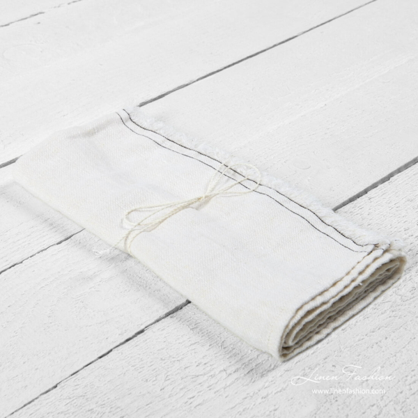 White kitchen towel with fringe