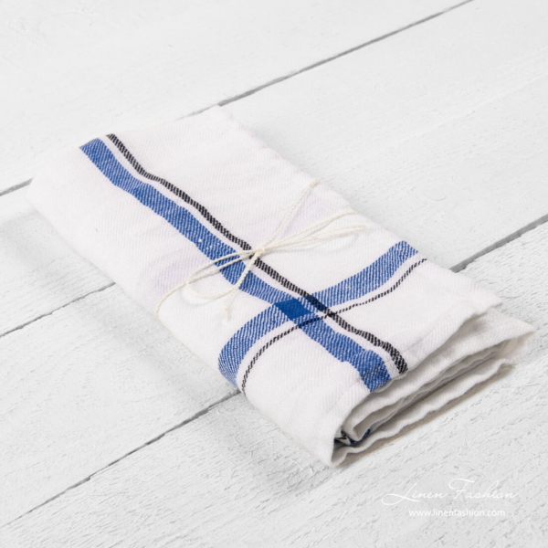 White kitchen towel with blue checks