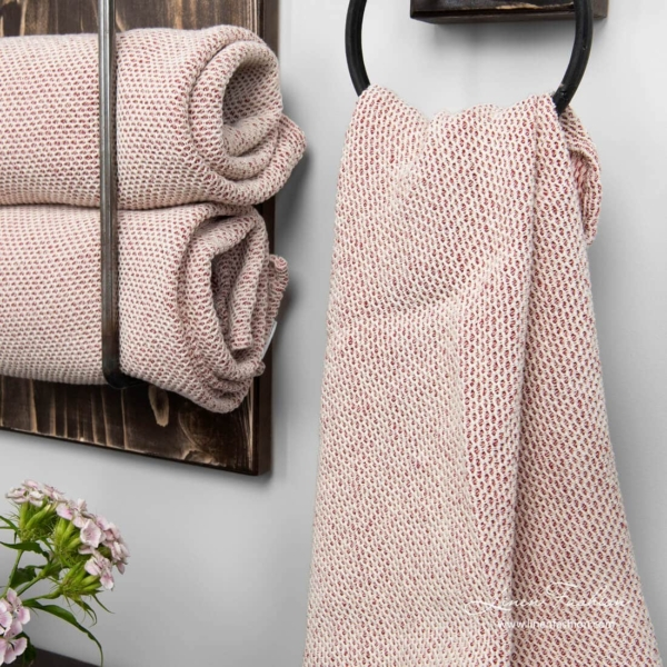Linen blend bath towel woven from dark red & off white yarns