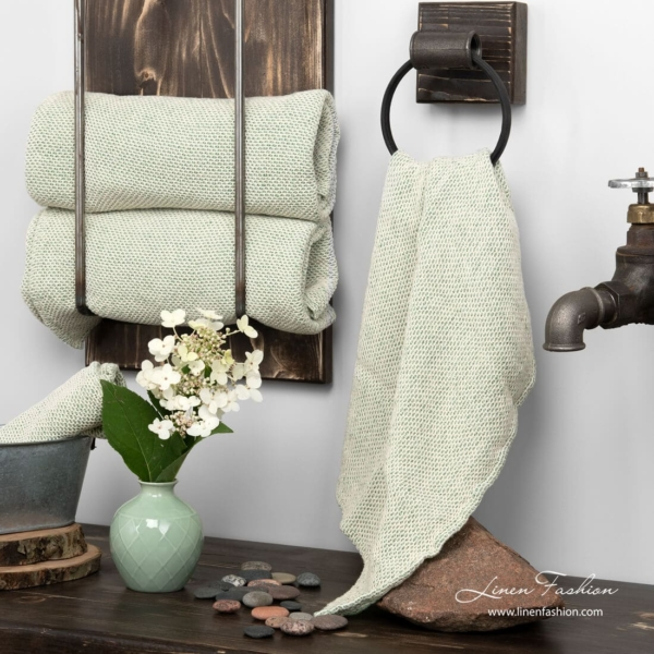 Linen towel white green honeycomb pattern