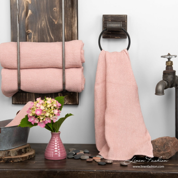 Linen towel old rose honeycomb pattern