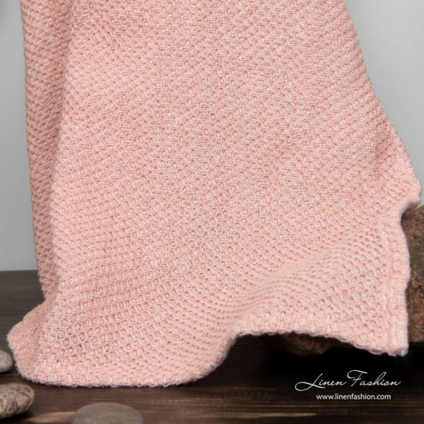 Linen cotton bath towel in old rose color