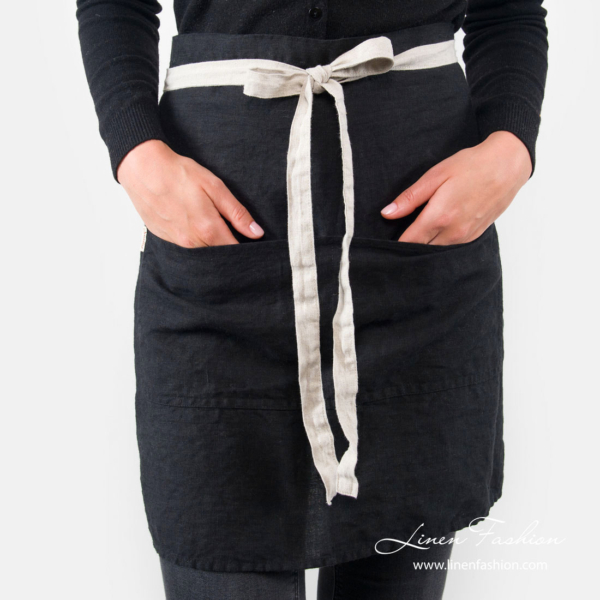 Pure linen black apron with large pocket