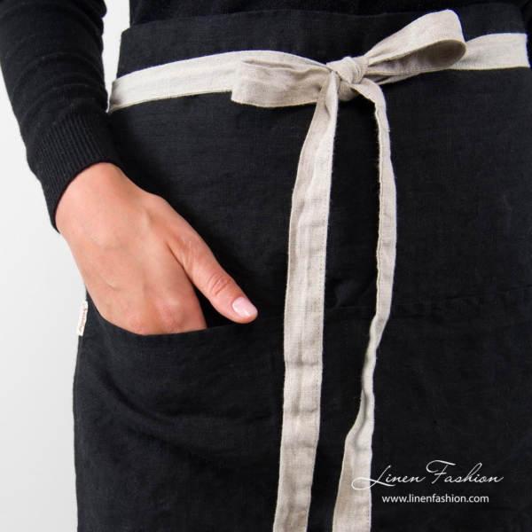 Black linen apron with flax ribbons