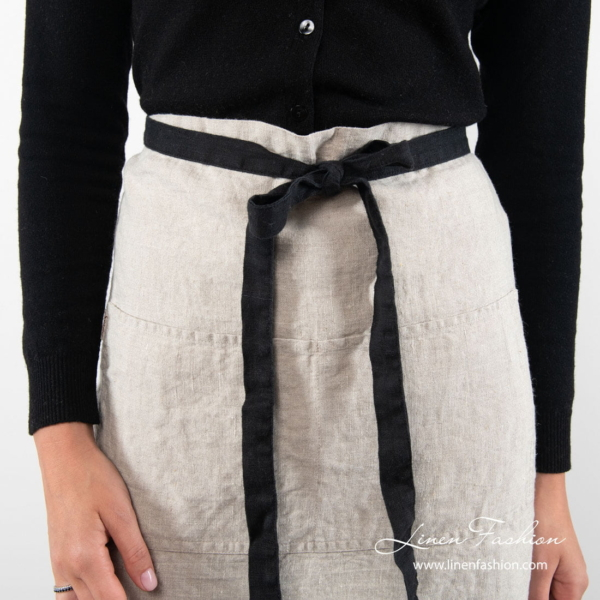 Natural flax color linen apron with black ties