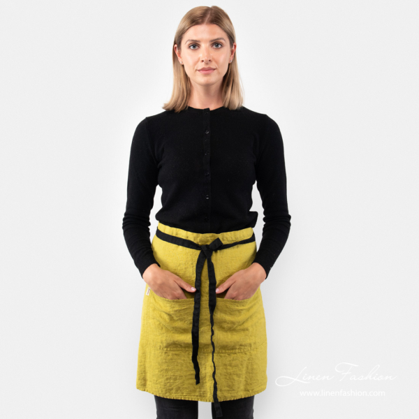 Linen short apron in warm olive color