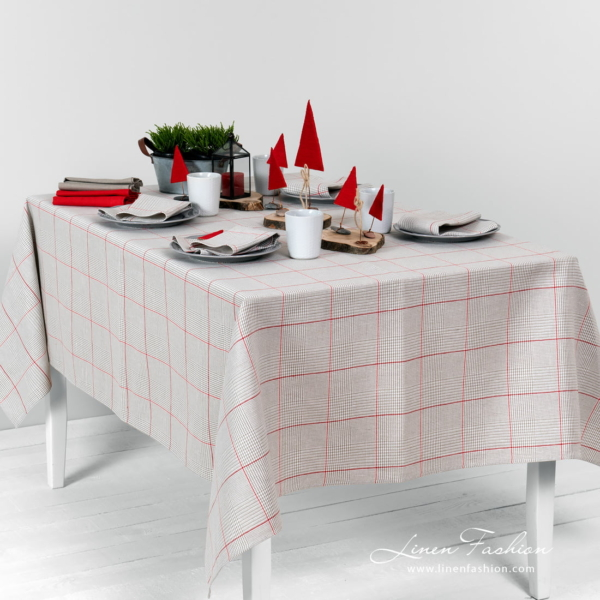 Glen check pattern grey tablecloth