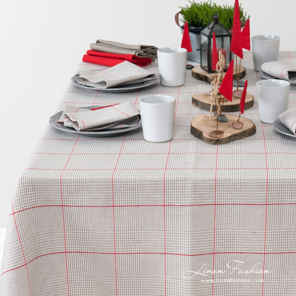 Grey checked tablecloth with red squares