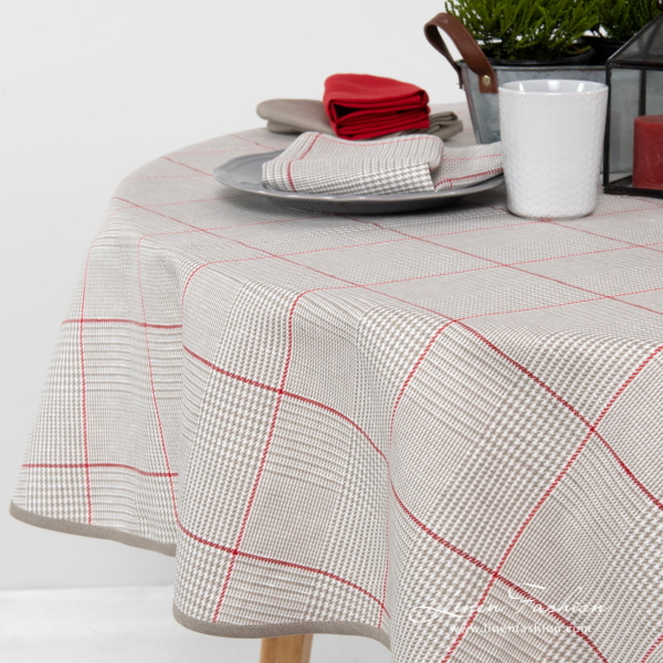 Round grey checked linen blend tablecloth with red squares