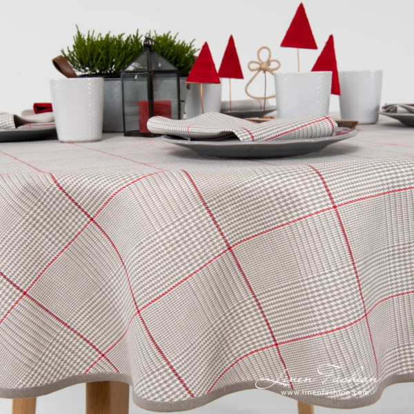 Round linen cotton grey check tablecloth with large red squares