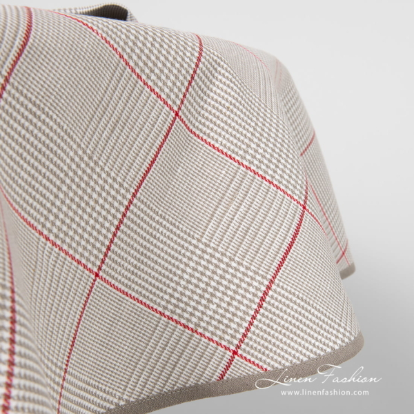 Round grey check tablecloth with narrow pipping