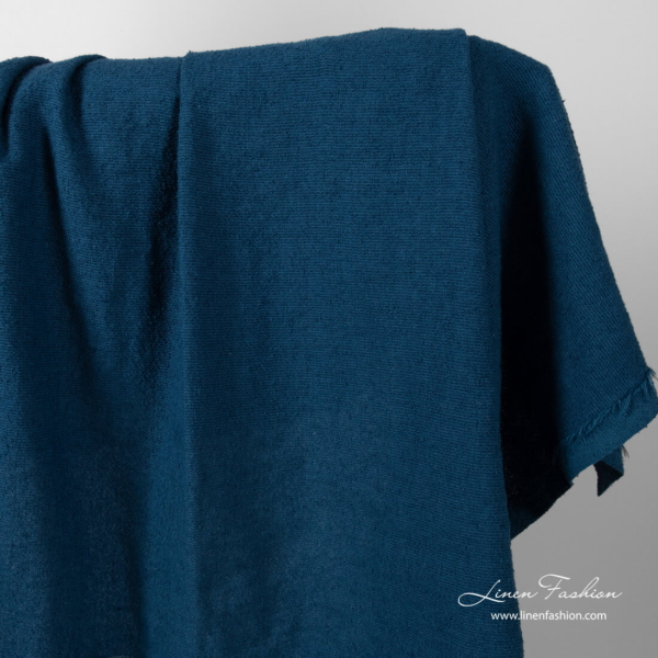 Washed blue linen cotton fabric